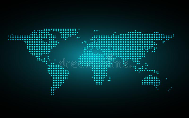 蓝色抽象全球性小点地图背景 辐形梯度 报告和项目介绍模板的现代设计墙纸 库存例证