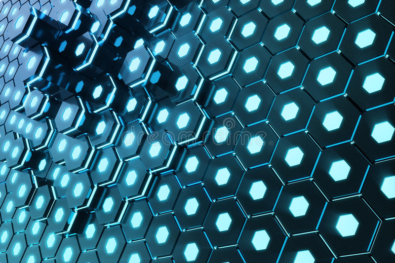 蓝色抽象六角发光的背景,未来派概念, 3d翻译 库存例证