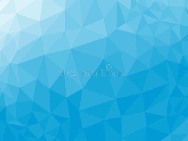 蓝色抽象几何弄皱的三角低多样式传染媒介例证图表背景 皇族释放例证