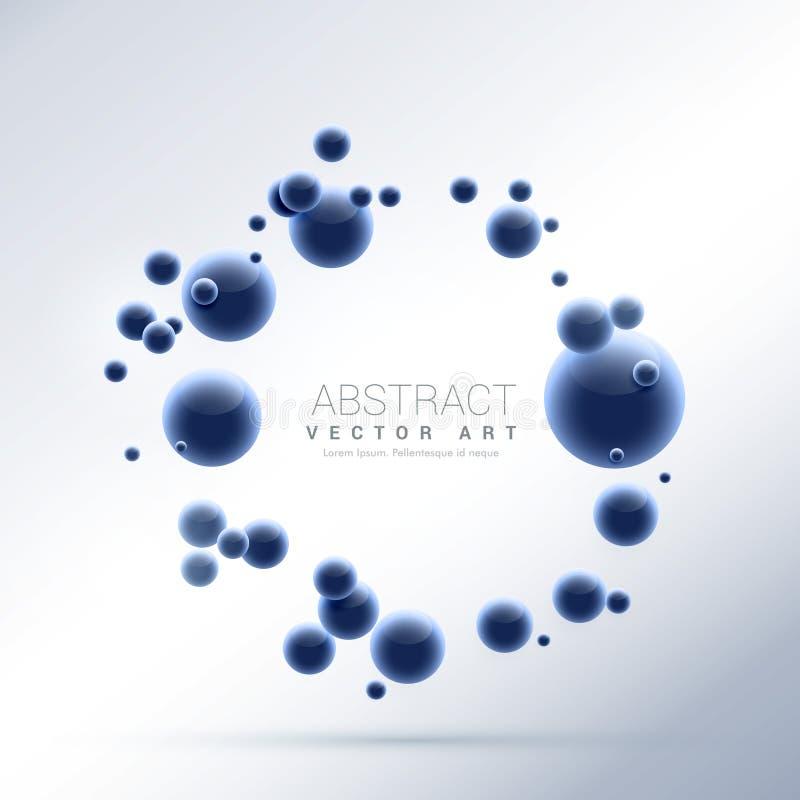 蓝色抽象分子微粒背景 库存例证