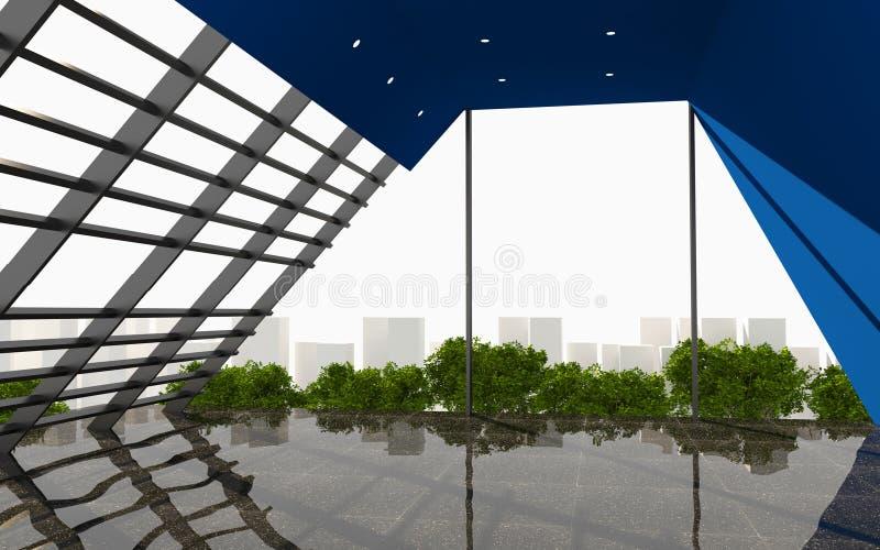 蓝色抽象墙壁办公室内部现代 库存例证