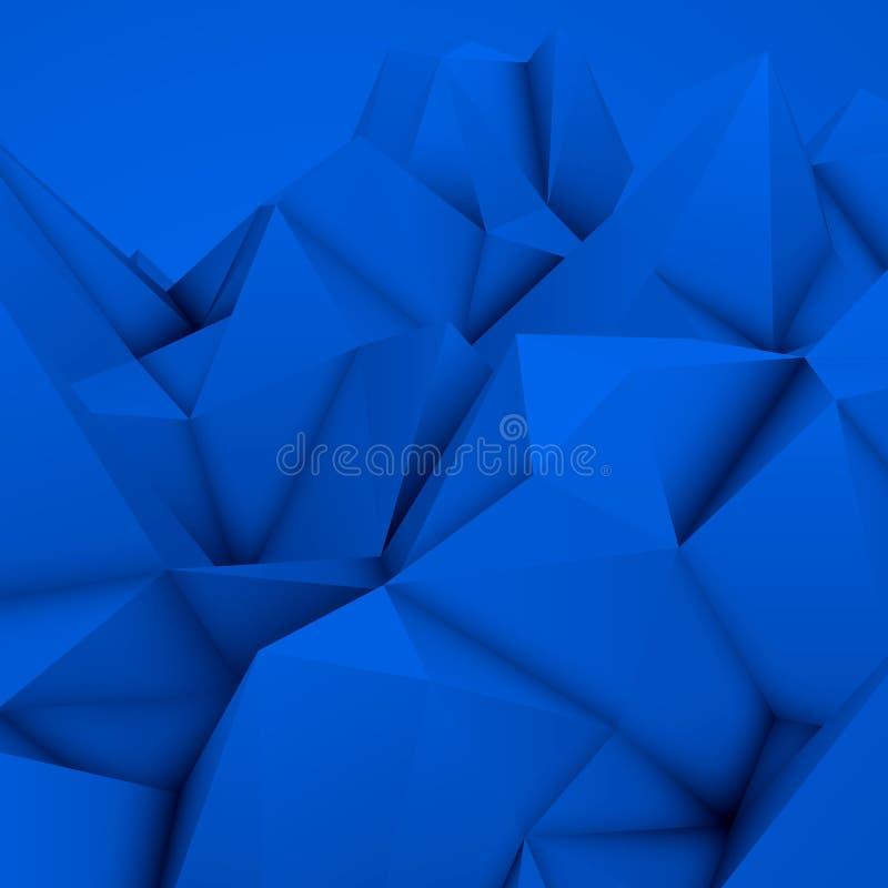 蓝色抽象多角形背景 库存例证