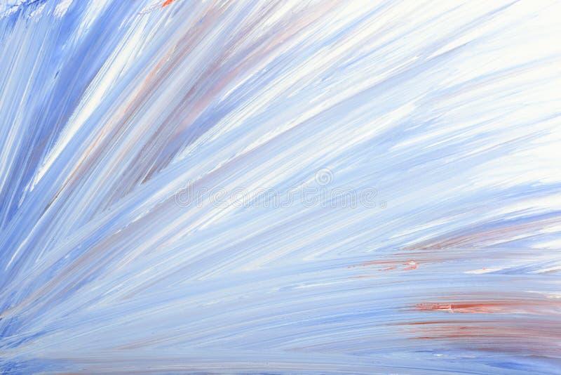 蓝色抽象手画树胶水彩画颜料刷子冲程涂抹背景纹理 向量例证