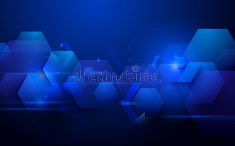 蓝色抽象技术数字式高科技概念背景 免版税库存照片
