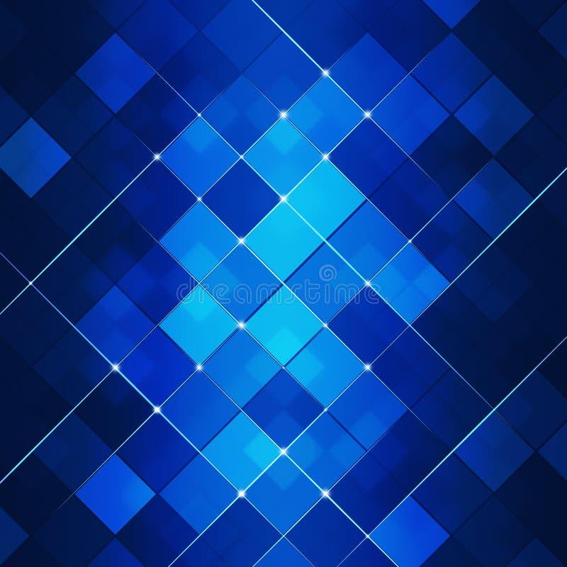 蓝色抽象方形的小点技术背景 皇族释放例证