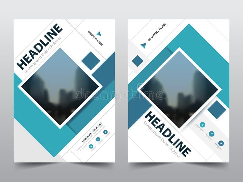 蓝色抽象方形的年终报告小册子设计模板传染媒介 企业飞行物infographic杂志海报 库存例证