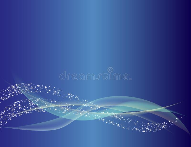 蓝色抽象波浪线背景 免版税库存照片