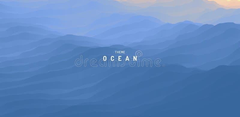 蓝色抽象海洋海景 E 水波 E E 库存例证
