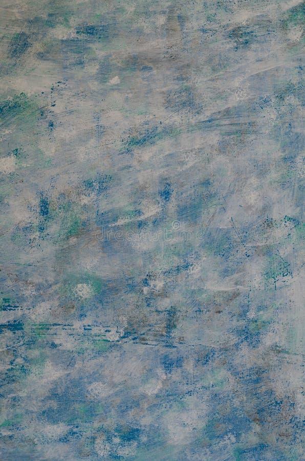 蓝色抽象的背景,白色,被绘的浅绿色 混杂的col 免版税库存图片