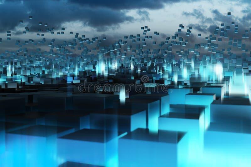 蓝色抽象立方体 向量例证