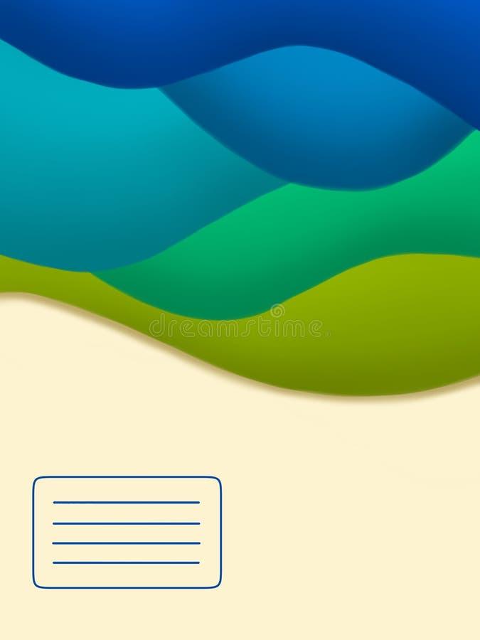 蓝色抽象笔记本盖子模板 向量例证