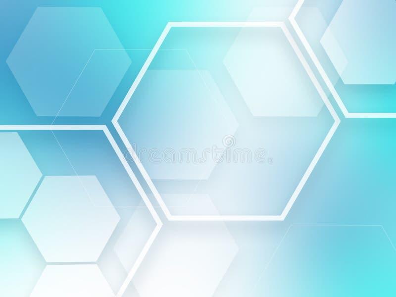 蓝色抽象背景六角形样式技术科学幻想小说创新概念 皇族释放例证