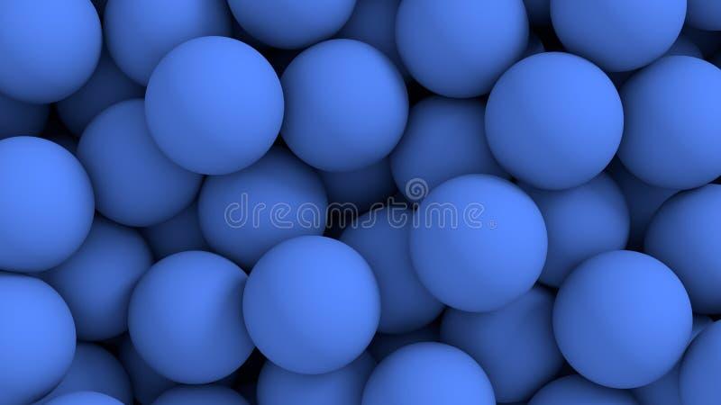 蓝色抽象背景的球 皇族释放例证