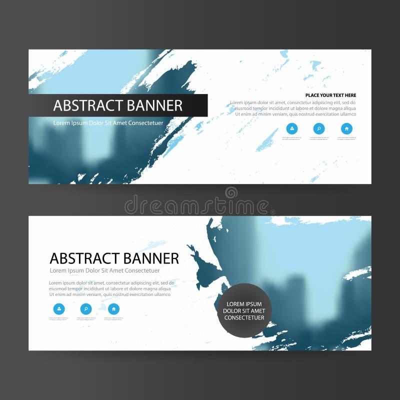蓝色抽象艺术性的公司业务横幅模板,水平的广告业横幅布局模板平的设计 皇族释放例证