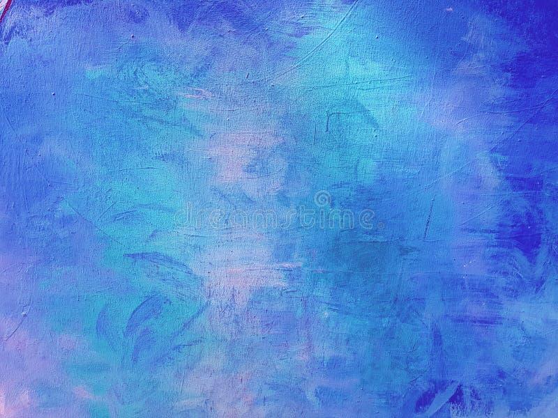 蓝色抽象被绘的背景墙壁 免版税图库摄影