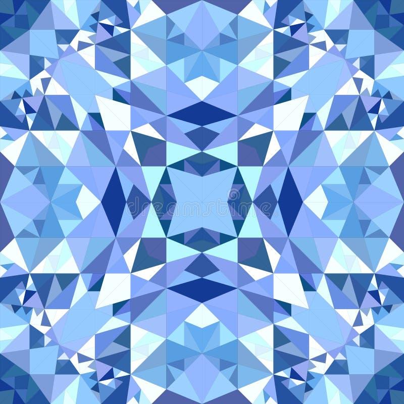 蓝色抽象重复的三角马赛克万花筒墙纸样式 库存例证
