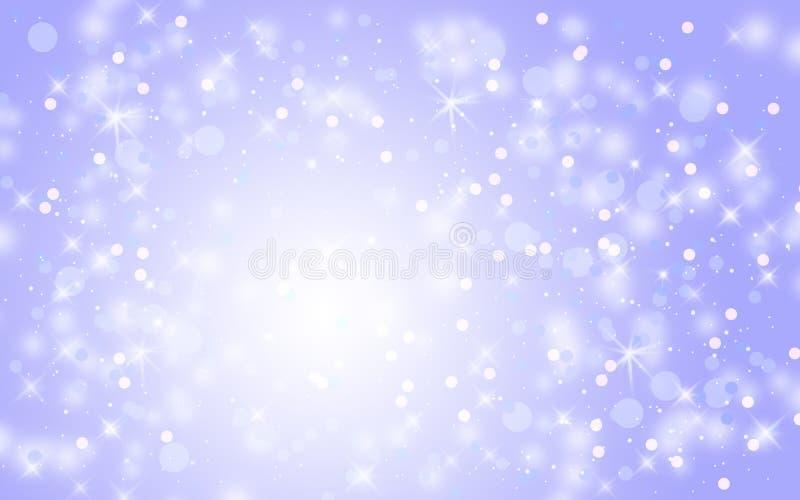 蓝色抽象雪落的冬天圣诞节假日背景 向量例证
