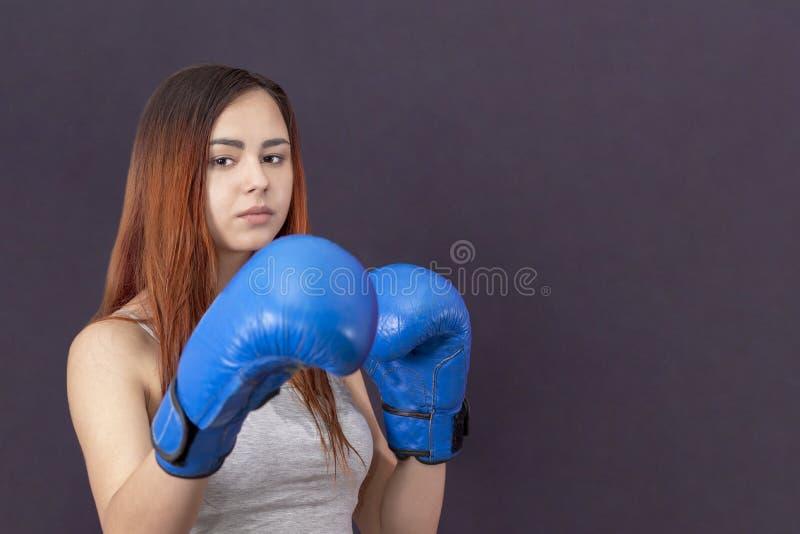 蓝色拳击手套的拳击手女孩在机架的一件灰色T恤杉在灰色背景 图库摄影