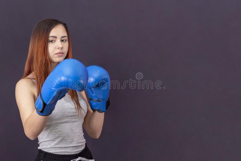 蓝色拳击手套的拳击手女孩在机架的一件灰色T恤杉 图库摄影