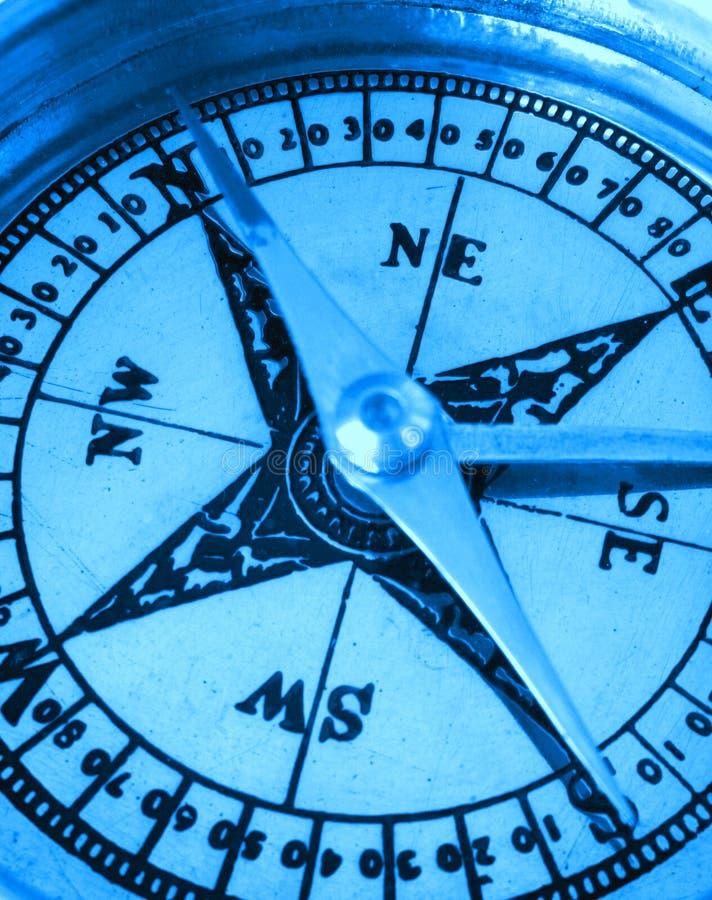 蓝色指南针 免版税库存图片