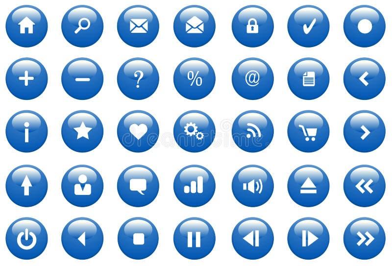 蓝色按光滑的图标 免版税库存图片