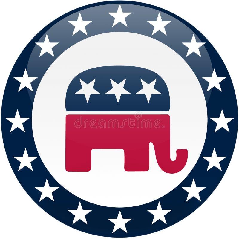 蓝色按钮共和党白色 皇族释放例证