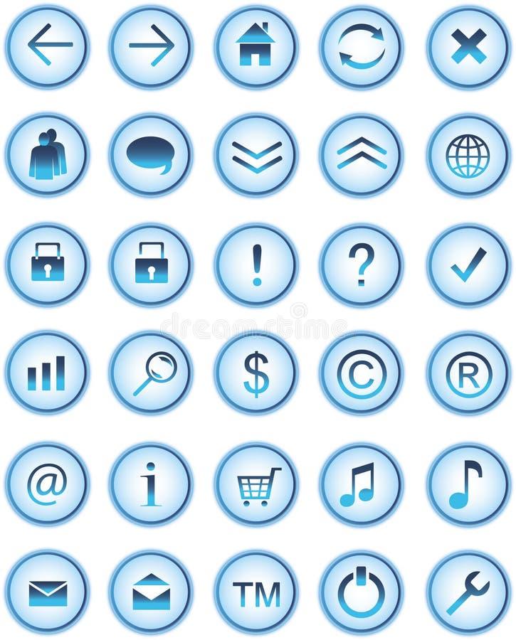 蓝色按钮玻璃图标万维网 库存例证