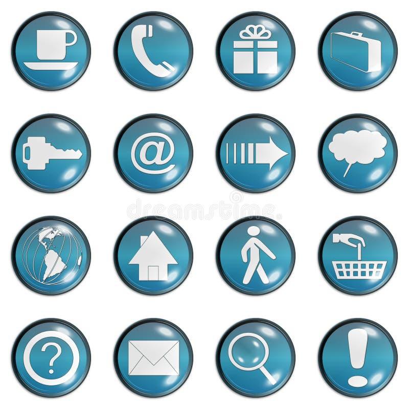 蓝色按钮玻璃深青色网站 库存例证