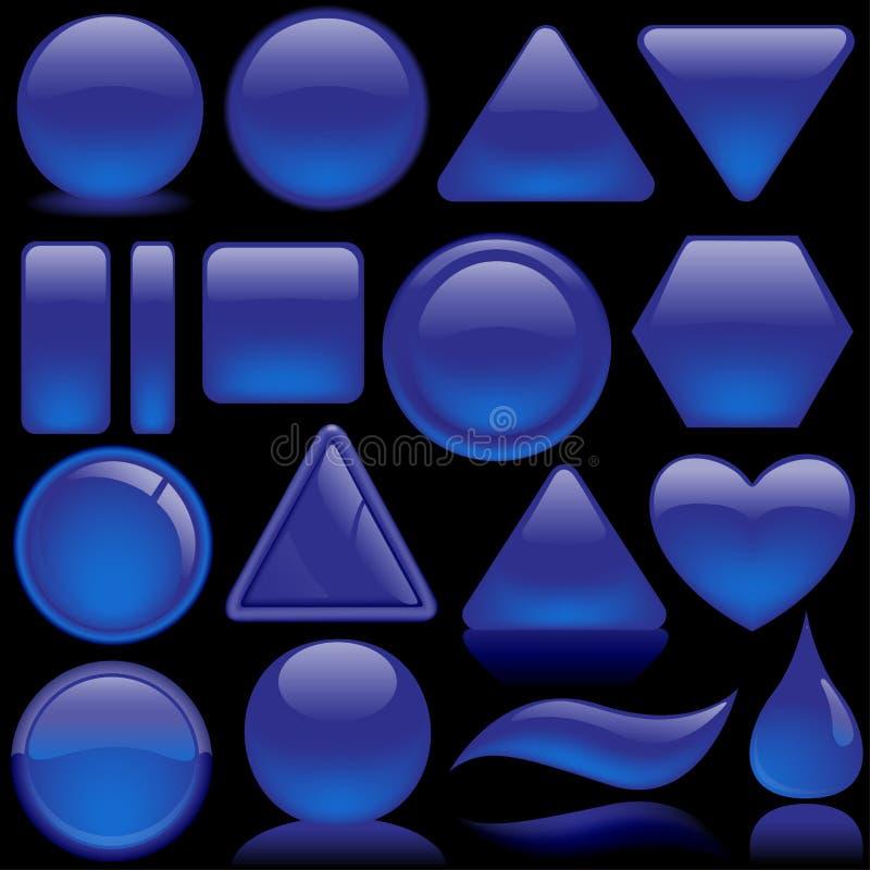 蓝色按钮玻璃装箱 库存例证