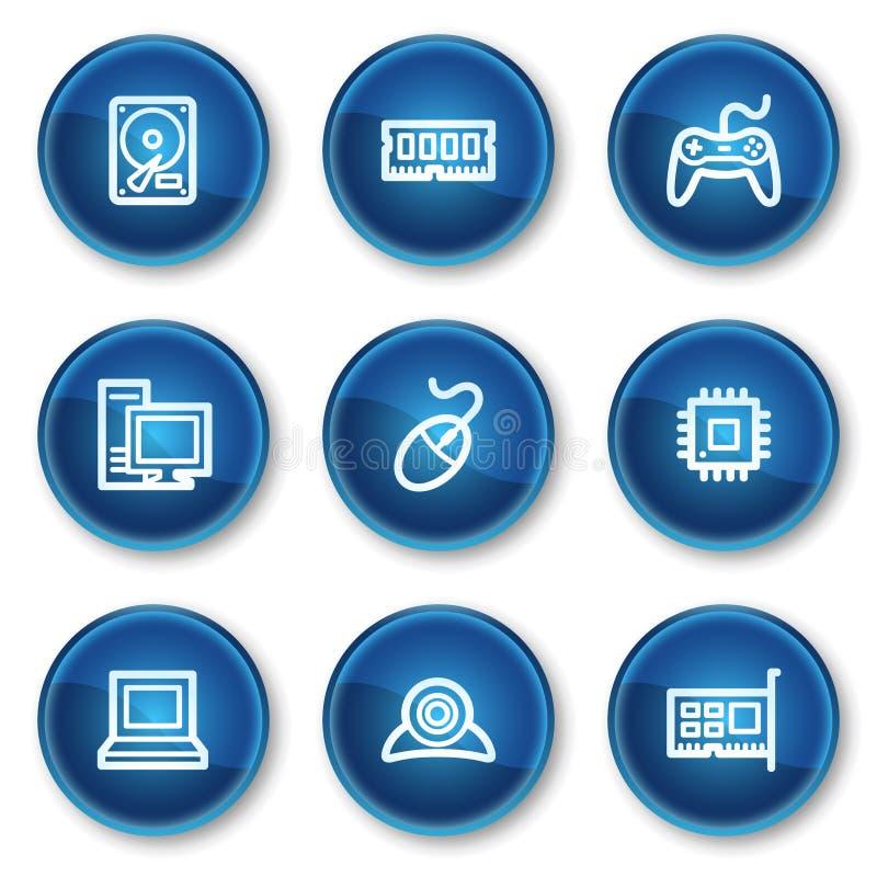 蓝色按钮盘旋计算机图标万维网 库存例证