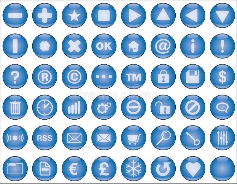 蓝色按钮轻的万维网 库存例证
