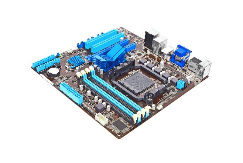 蓝色接近的颜色计算机主板 免版税库存图片