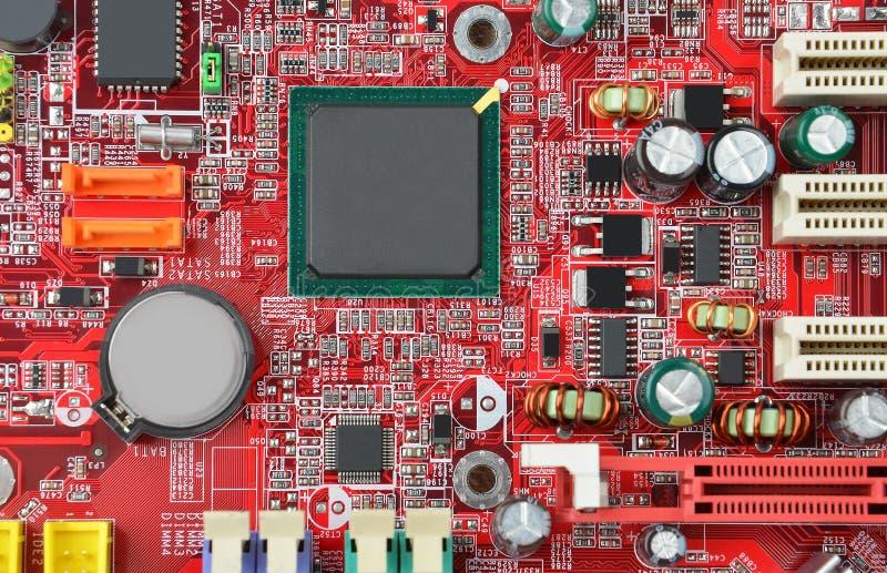 蓝色接近的颜色计算机主板 库存图片