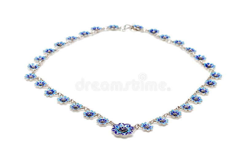 蓝色搪瓷项链 免版税库存照片