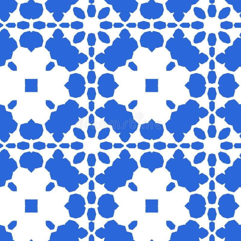 蓝色摩洛哥瓦片-无缝的装饰品 皇族释放例证