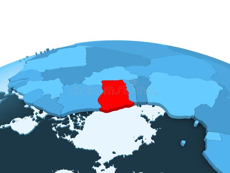 蓝色政治地球的加纳 库存例证