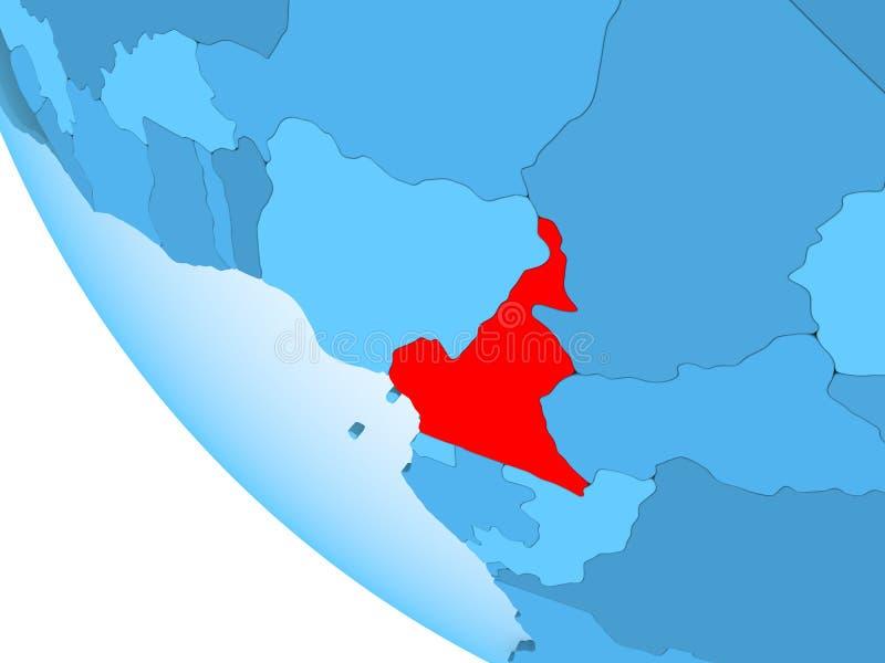 蓝色政治地球的喀麦隆 皇族释放例证