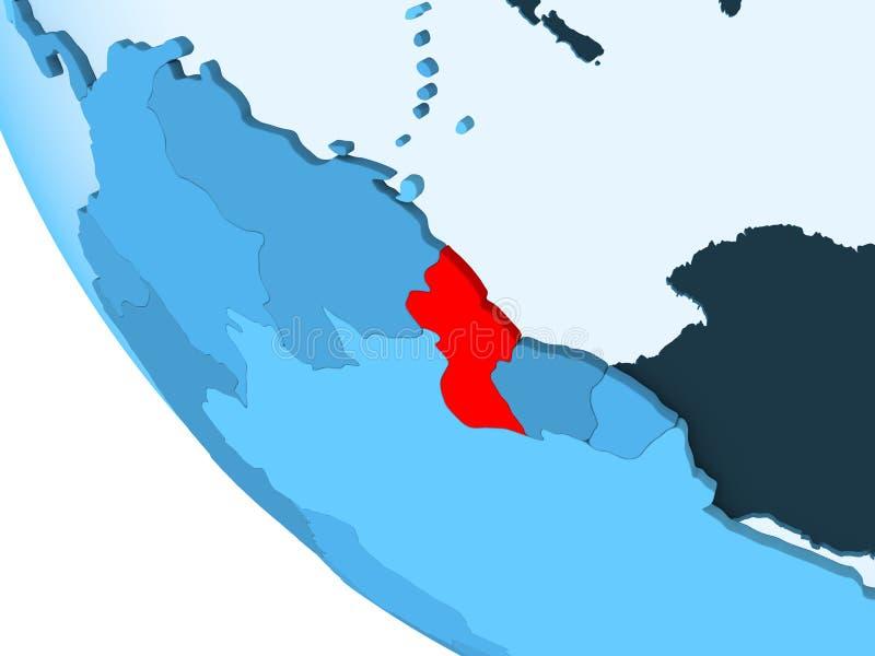 蓝色政治地球的圭亚那 皇族释放例证