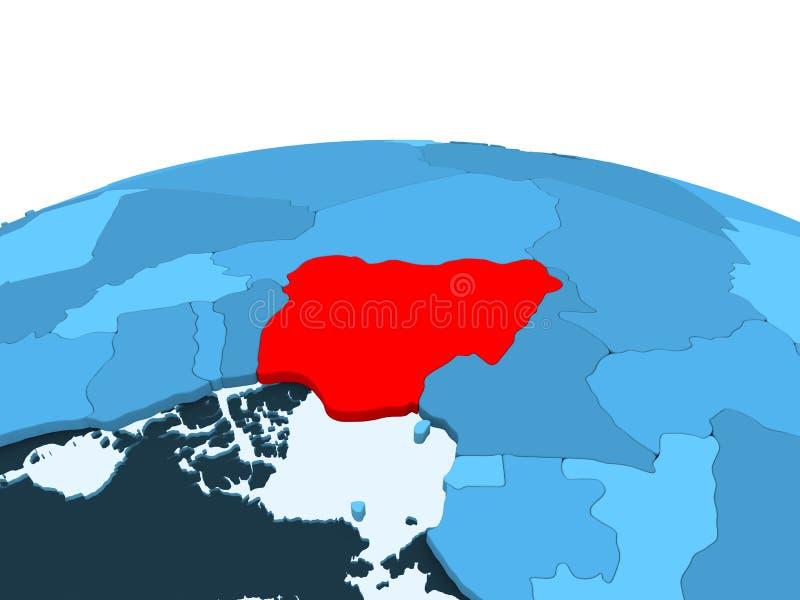蓝色政治地球的尼日利亚 皇族释放例证