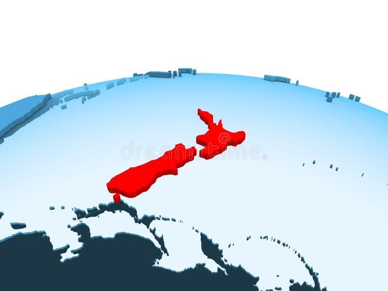 蓝色政治地球的新西兰 向量例证
