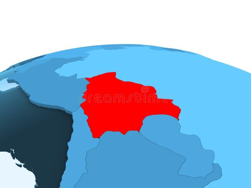 蓝色政治地球的玻利维亚 库存例证