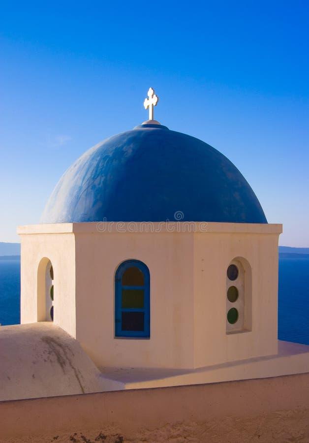 蓝色教会圆顶希腊 库存照片