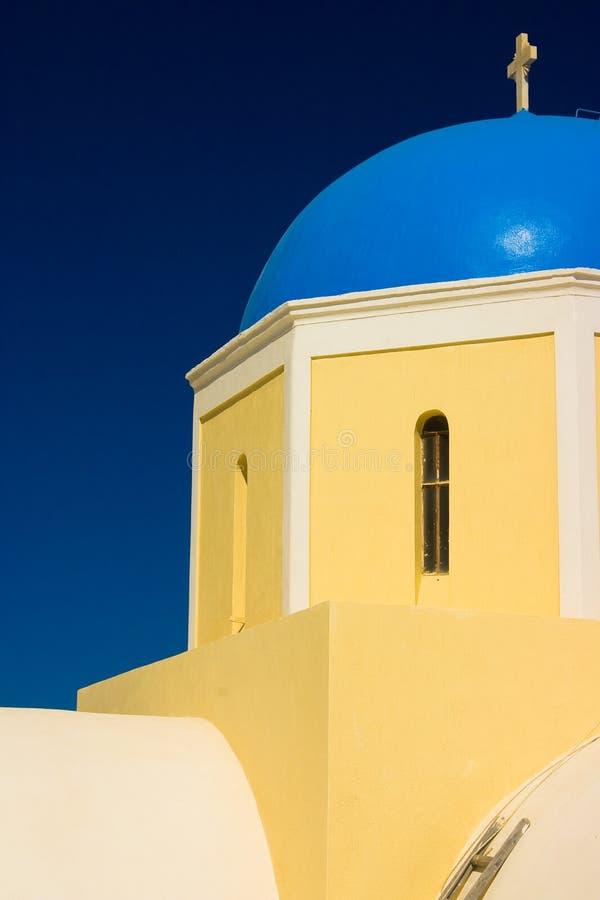 蓝色教会圆顶希腊 免版税库存图片