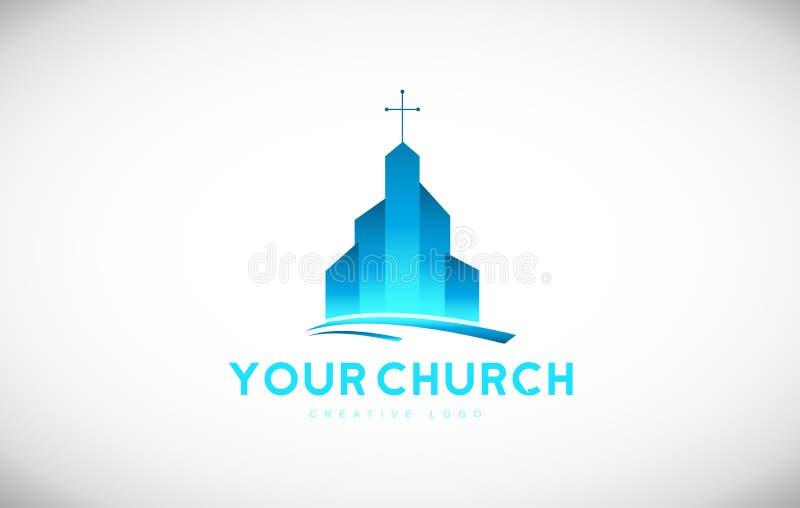 蓝色教会基督徒发怒商标象设计 皇族释放例证