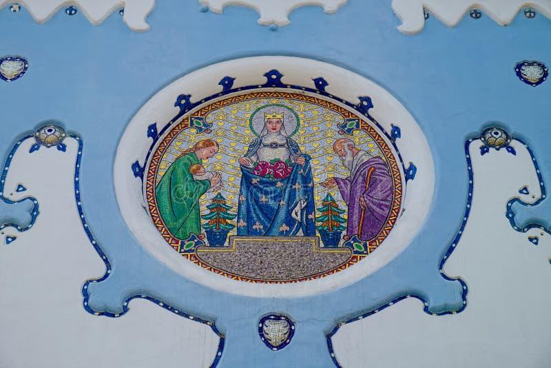 蓝色教会马赛克在布拉索夫 免版税库存照片