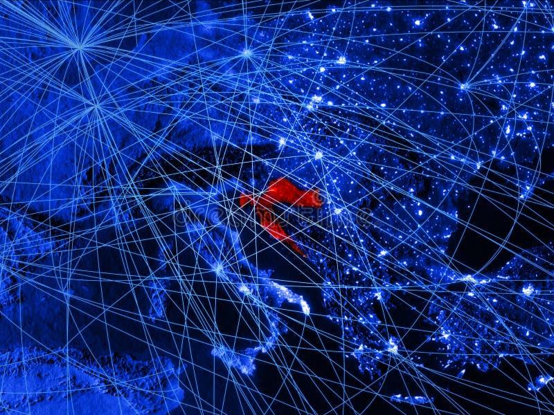 蓝色数字地图的克罗地亚与网络 国际旅行、通信和技术的概念 3d例证 皇族释放例证