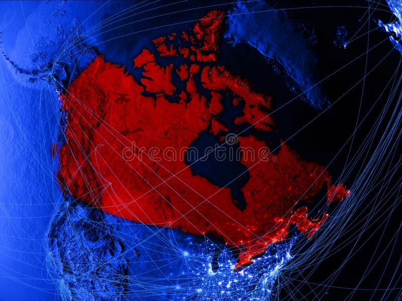 蓝色数字地图的加拿大与网络 国际旅行、通信和技术的概念 3d例证 要素 皇族释放例证