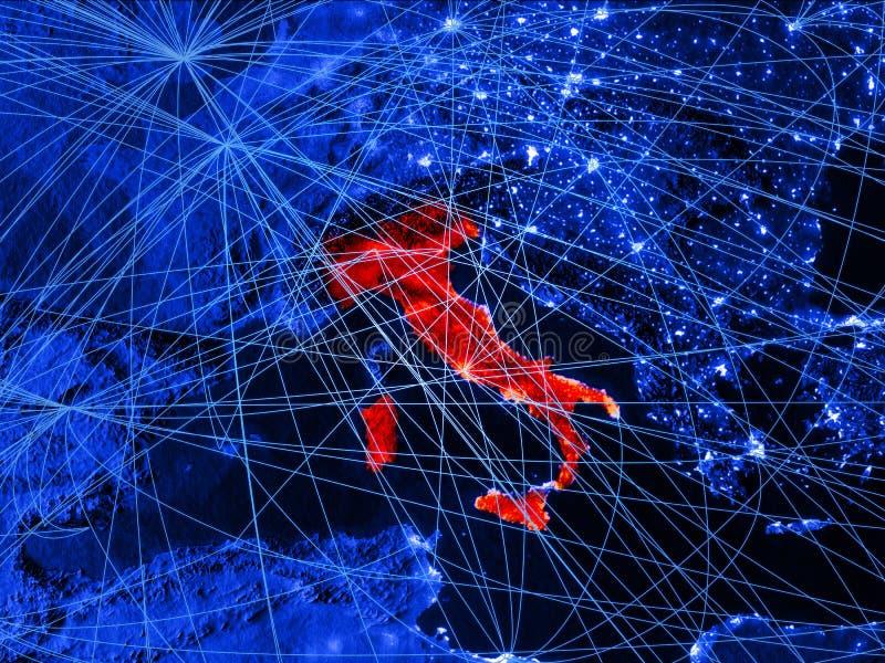 蓝色数字地图的意大利与网络 国际旅行、通信和技术的概念 3d例证 要素 库存例证