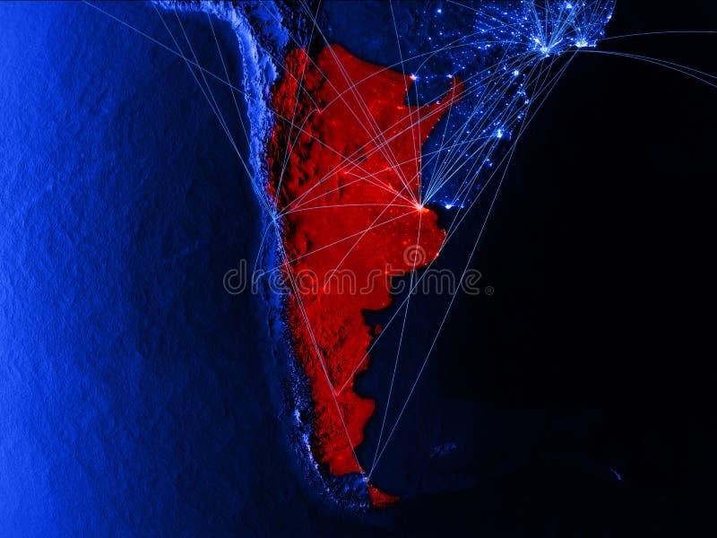 蓝色数字地图的阿根廷与网络 国际旅行、通信和技术的概念 3d例证 向量例证
