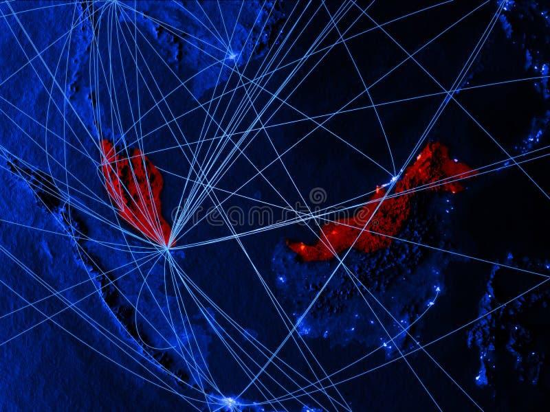 蓝色数字地图的马来西亚与网络 国际旅行、通信和技术的概念 3d例证 库存例证
